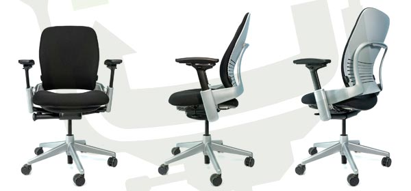 Steelcase V2 Leap - Platinum Frame - Front, Side, Back