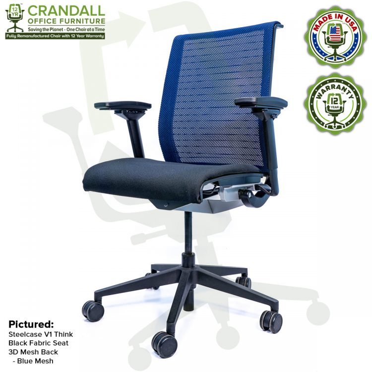 Crandall Office Furniture Remanufactured Steelcase Think Chair with 12 Year Warranty - Mesh - Blue