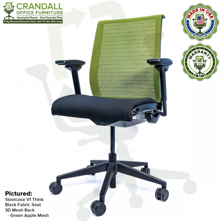 Crandall Office Furniture Remanufactured Steelcase Think Chair with 12 Year Warranty - Mesh - Green Apple