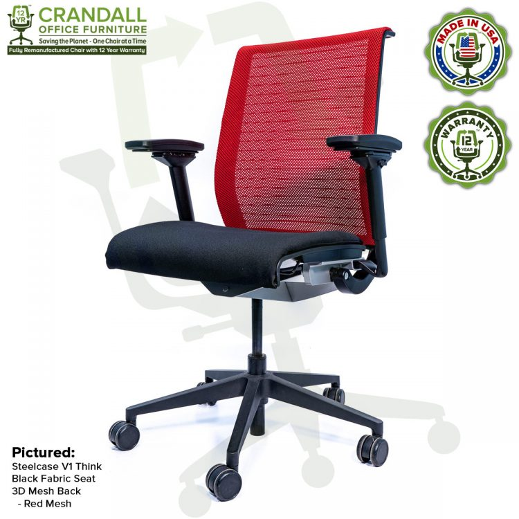 Crandall Office Furniture Remanufactured Steelcase Think Chair with 12 Year Warranty - Mesh - Red