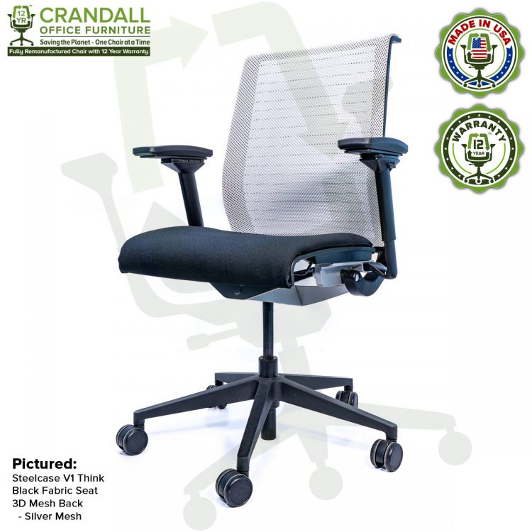 Crandall Office Furniture Remanufactured Steelcase Think Chair with 12 Year Warranty - Mesh - Silver