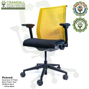 Crandall Office Furniture Remanufactured Steelcase Think Chair with 12 Year Warranty - Mesh - Yellow
