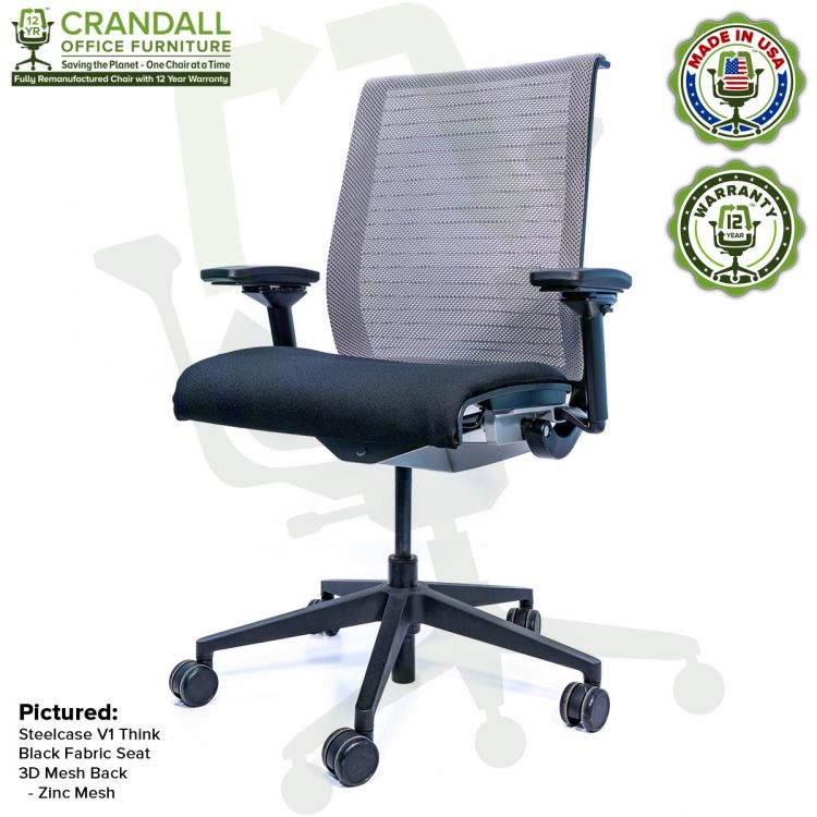 Crandall Office Furniture Remanufactured Steelcase Think Chair with 12 Year Warranty - Mesh - Zinc