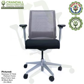 Crandall Office Furniture Remanufactured Steelcase Think Chair with 12 Year Warranty - Platinum Frame - 01