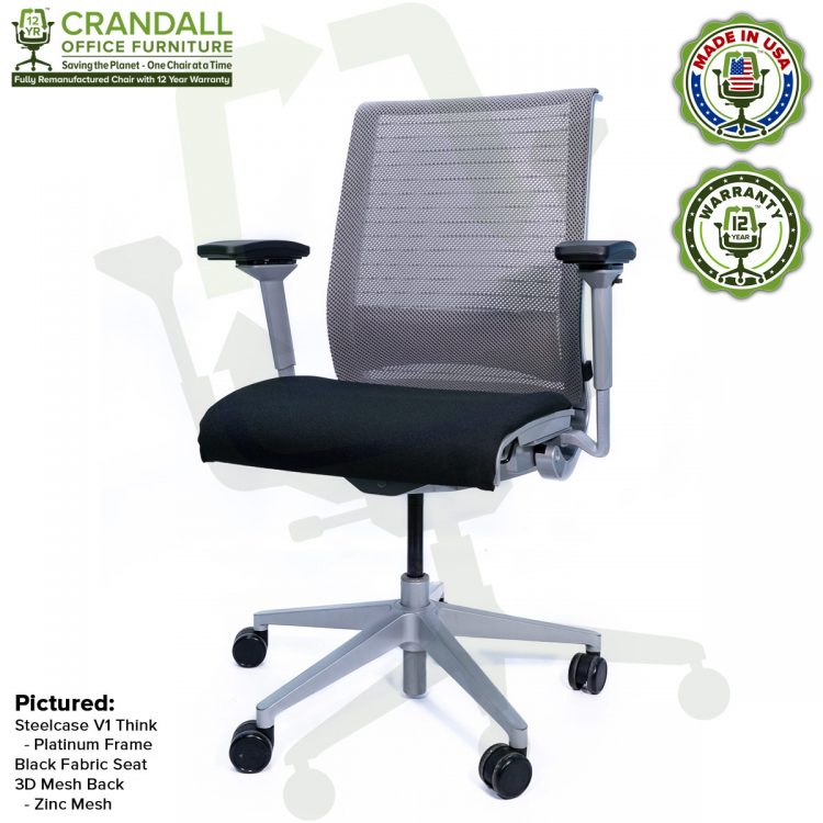 Crandall Office Furniture Remanufactured Steelcase Think Chair with 12 Year Warranty - Platinum Frame - 02