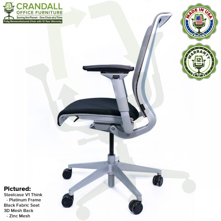 Crandall Office Furniture Remanufactured Steelcase Think Chair with 12 Year Warranty - Platinum Frame - 04
