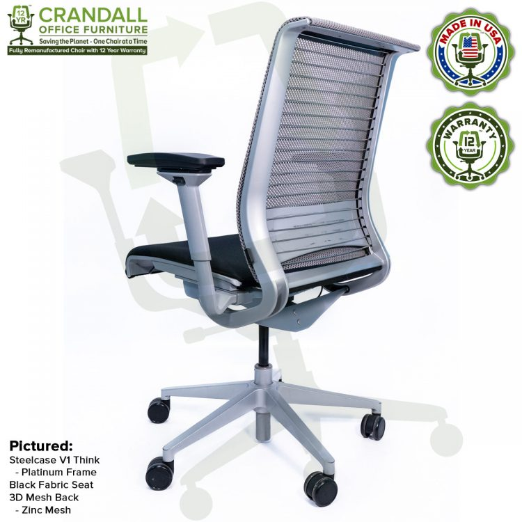 Crandall Office Furniture Remanufactured Steelcase Think Chair with 12 Year Warranty - Platinum Frame - 05