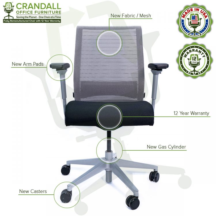 Crandall Office Furniture Remanufactured Steelcase Think Chair with 12 Year Warranty - Platinum Frame - 07