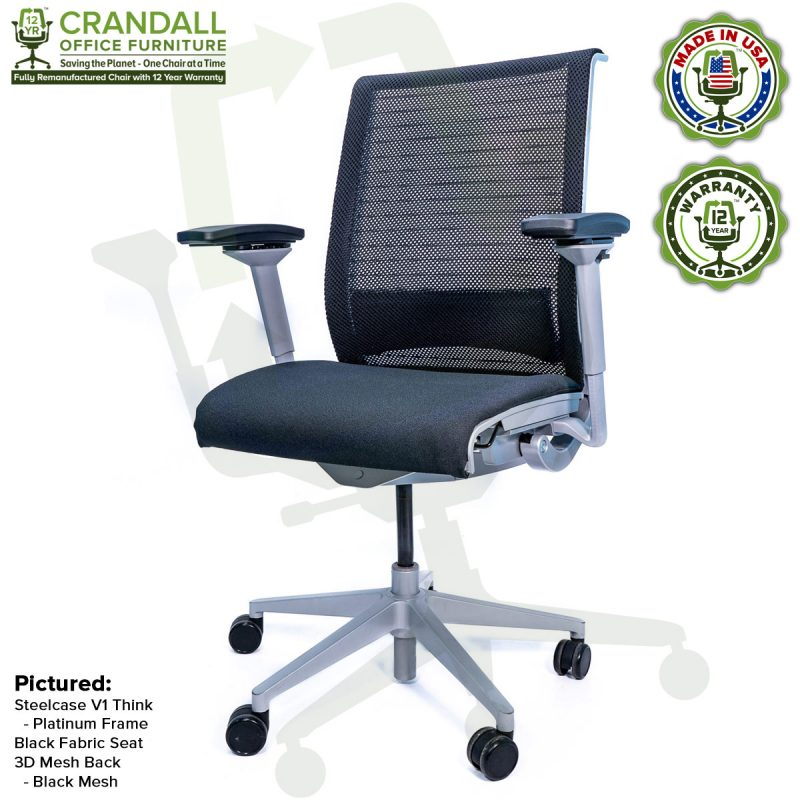Crandall Office Furniture Remanufactured Steelcase Think Chair with 12 Year Warranty - Platinum Frame - Black Mesh