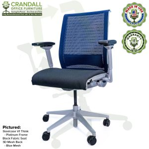 Crandall Office Furniture Remanufactured Steelcase Think Chair with 12 Year Warranty - Platinum Frame - Blue Mesh