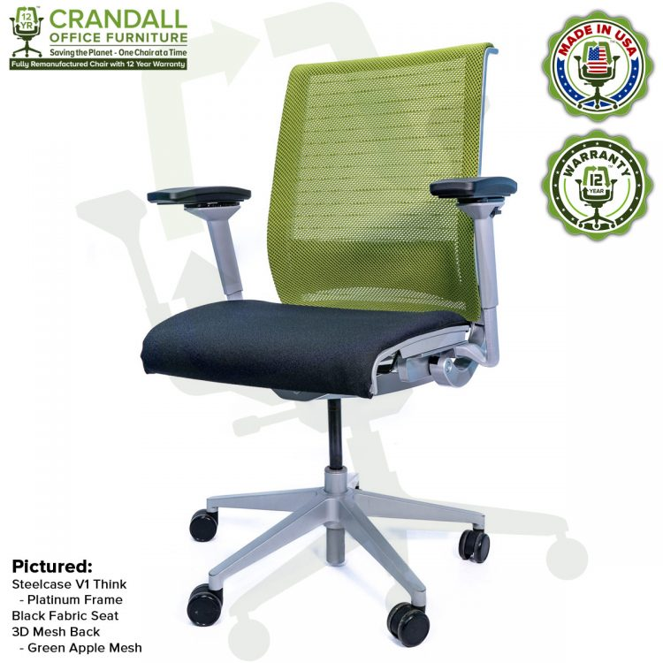 Crandall Office Furniture Remanufactured Steelcase Think Chair with 12 Year Warranty - Platinum Frame - Green Apple Mesh