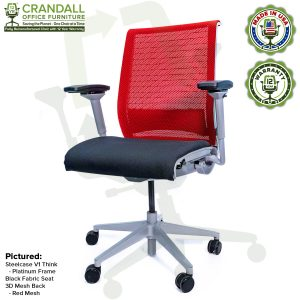 Crandall Office Furniture Remanufactured Steelcase Think Chair with 12 Year Warranty - Platinum Frame - Red Mesh