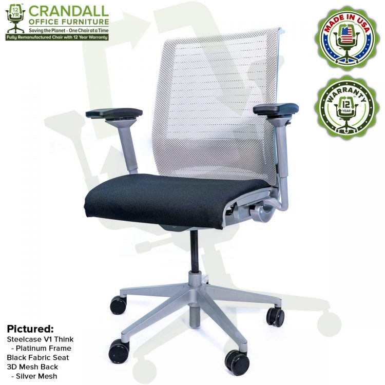 Crandall Office Furniture Remanufactured Steelcase Think Chair with 12 Year Warranty - Platinum Frame - Silver Mesh