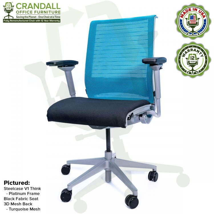 Crandall Office Furniture Remanufactured Steelcase Think Chair with 12 Year Warranty - Platinum Frame - Turquoise Mesh