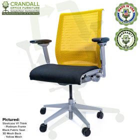 Crandall Office Furniture Remanufactured Steelcase Think Chair with 12 Year Warranty - Platinum Frame - Yellow Mesh