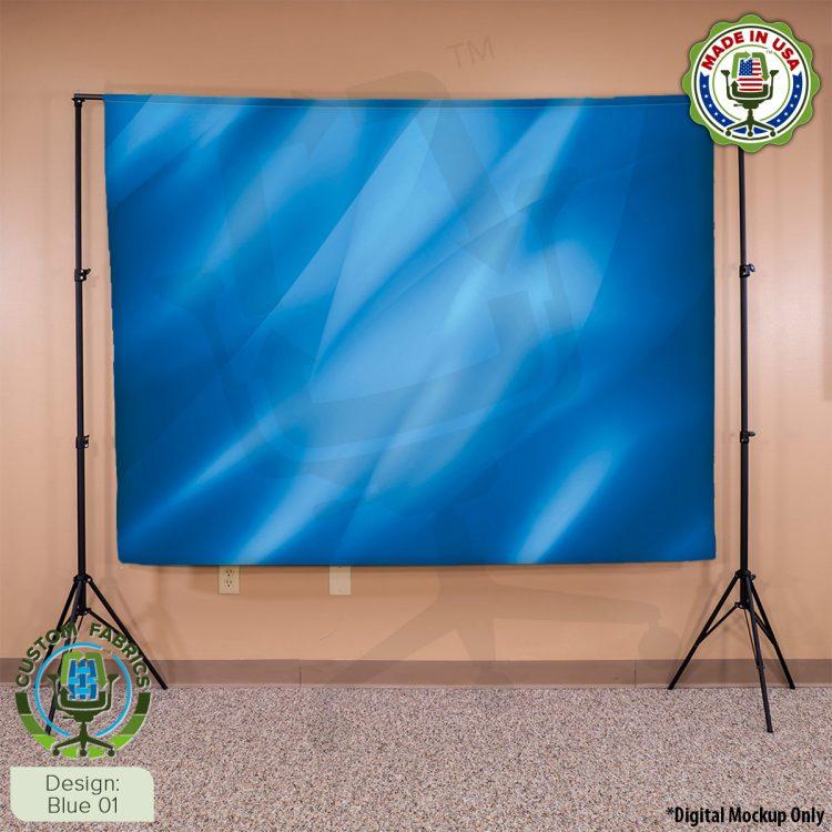 Video Call Custom Printed Backdrop - Blue 01