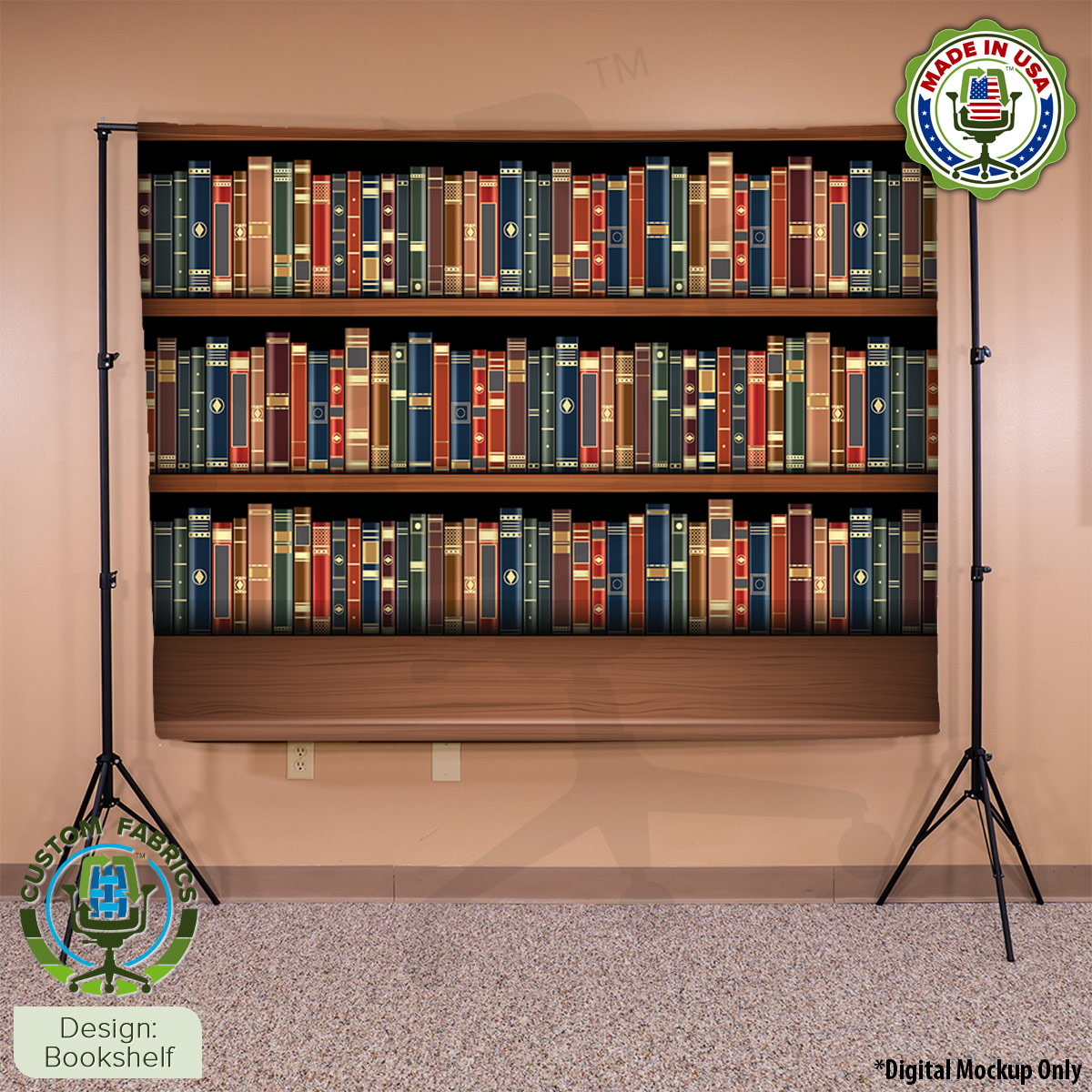 Video Call Custom Printed Backdrop - Bookshelf