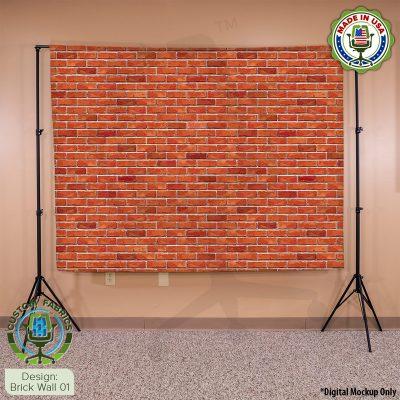 Video Call Custom Printed Backdrop - Brick Wall 01