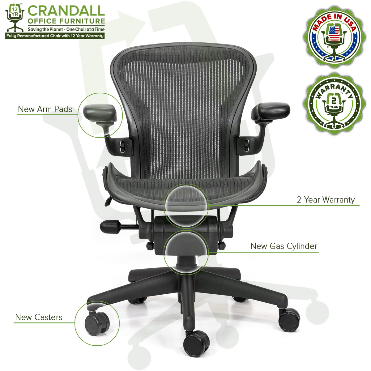 Crandall Office Refurbished Herman Miller Aeron Chair - Size A - 0006
