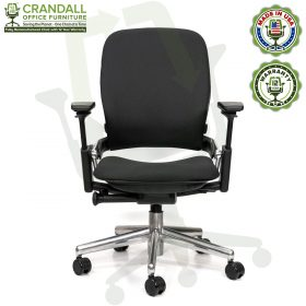 Crandall Office Furniture Remanufactured Steelcase V2 Leap Chair - Polished Aluminum Frame 01