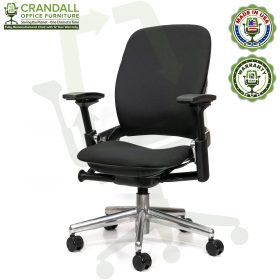 Crandall Office Furniture Remanufactured Steelcase V2 Leap Chair - Polished Aluminum Frame 02
