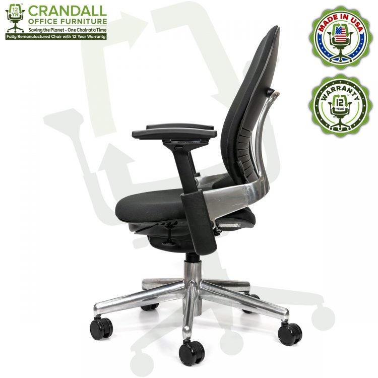 Crandall Office Furniture Remanufactured Steelcase V2 Leap Chair - Polished Aluminum Frame 03