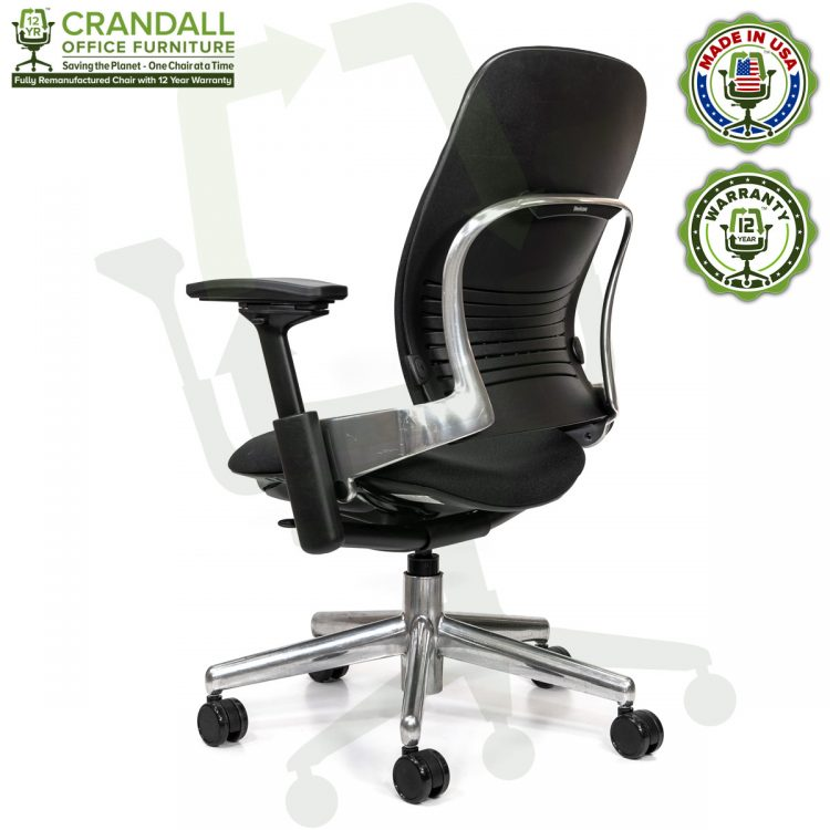 Crandall Office Furniture Remanufactured Steelcase V2 Leap Chair - Polished Aluminum Frame 04