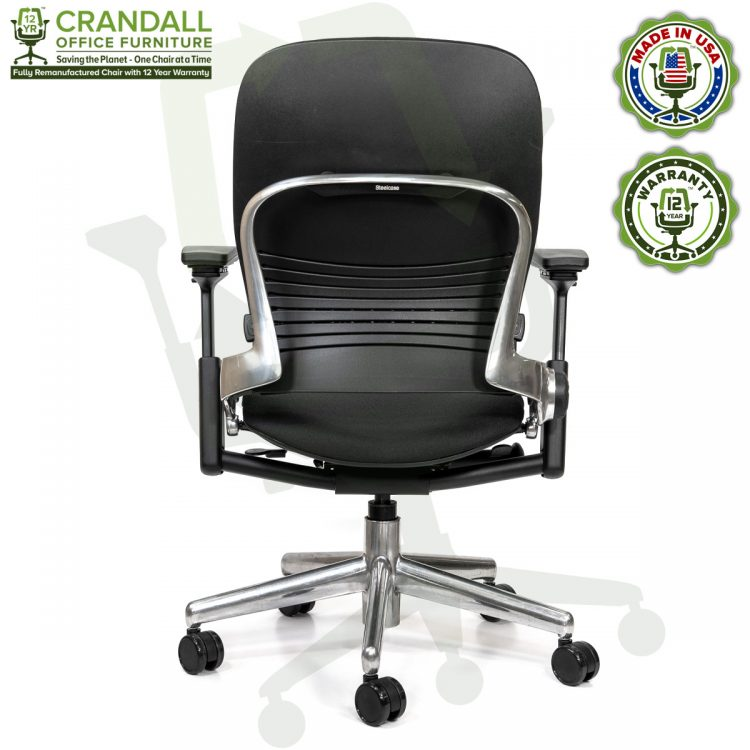 Crandall Office Furniture Remanufactured Steelcase V2 Leap Chair - Polished Aluminum Frame 05