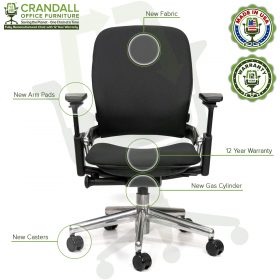 Crandall Office Furniture Remanufactured Steelcase V2 Leap Chair - Polished Aluminum Frame 06