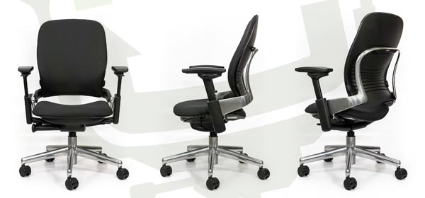 Crandall Office Furniture Remanufactured Steelcase V2 Leap Chair - Polished Aluminum Frame - Chair Angles