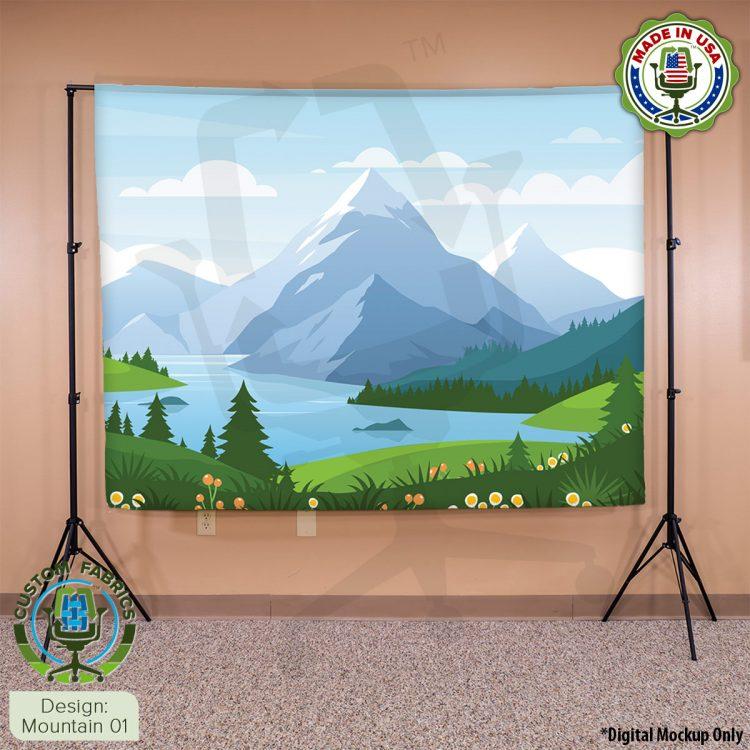 Video Call Custom Printed Backdrop - Mountain 01