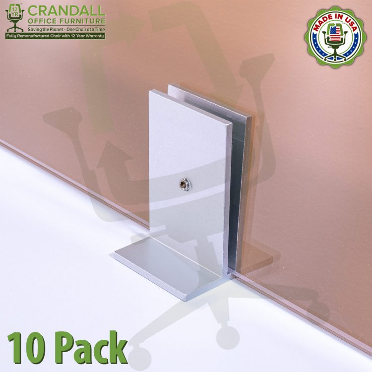 Clamp On Plexiglass & Acrylic Barrier Brackets 10 Pack