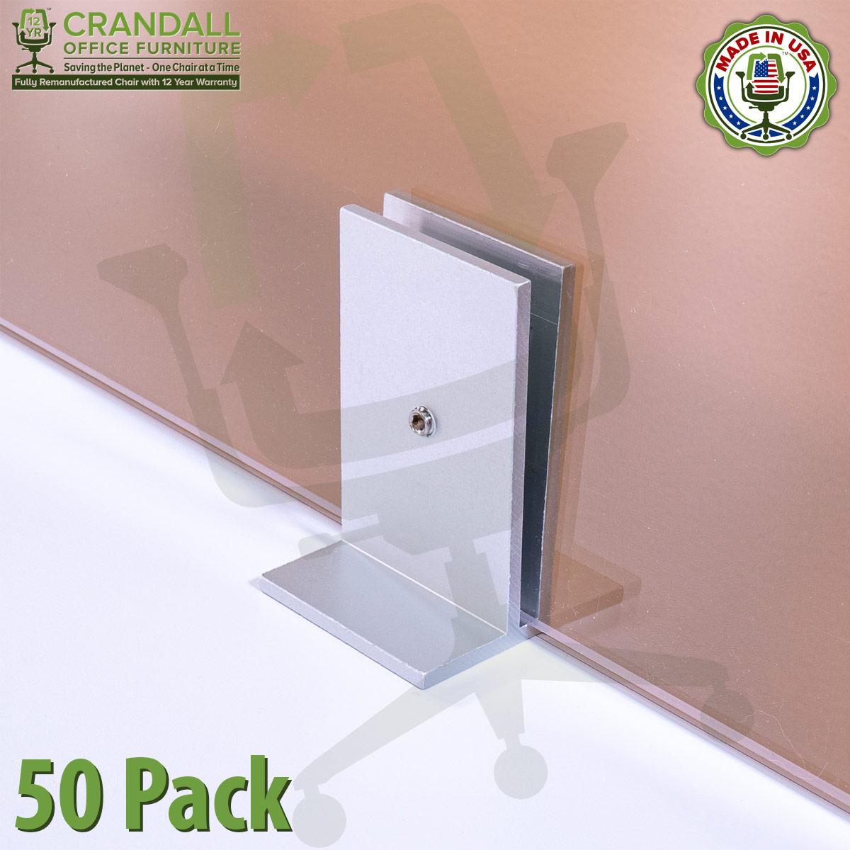 Clamp On Plexiglass & Acrylic Barrier Brackets 50 Pack
