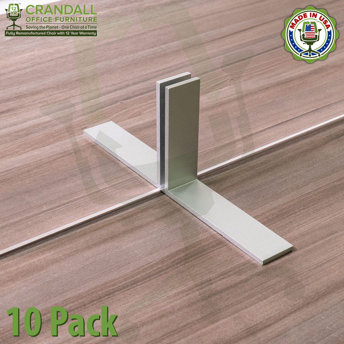 Table Top Free Standing Plexiglass & Acrylic Barrier Brackets 10 Pack