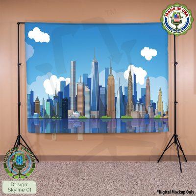 Video Call Custom Printed Backdrop - Skyline 01