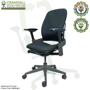 Crandall Office Furniture Remanufactured Steelcase V2 Leap Chair - Midnight Frame 03