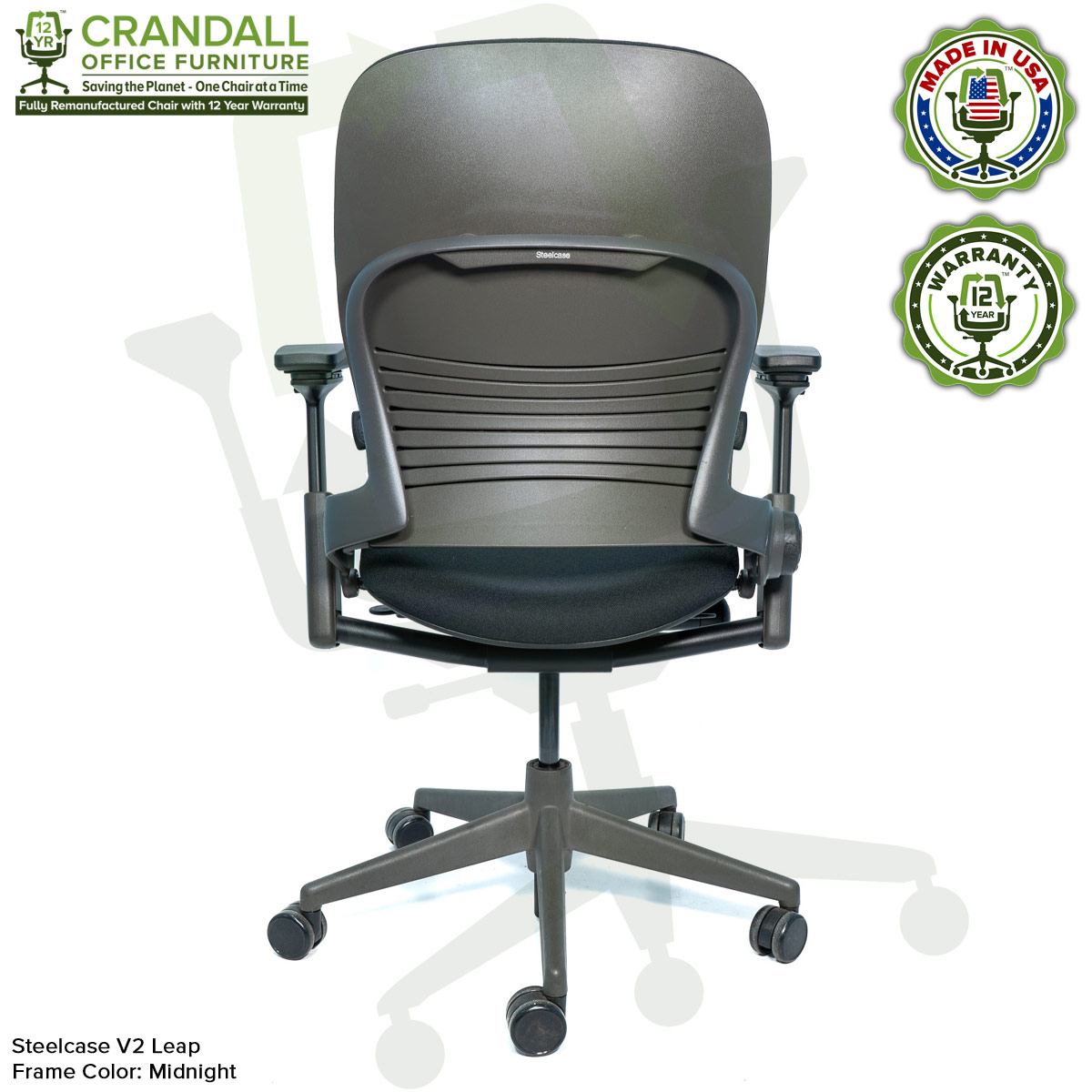 Crandall Office Furniture Remanufactured Steelcase V2 Leap Chair - Midnight Frame 06