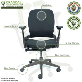 Crandall Office Furniture Remanufactured Steelcase V2 Leap Chair - Midnight Frame Features