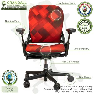 Remanufactured Steelcase Leap V1 Highback - Custom Fabric Design 0008 with Labels