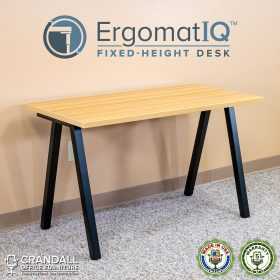 ErgomatIQ Fixed Height Desk with A Style Leg 01