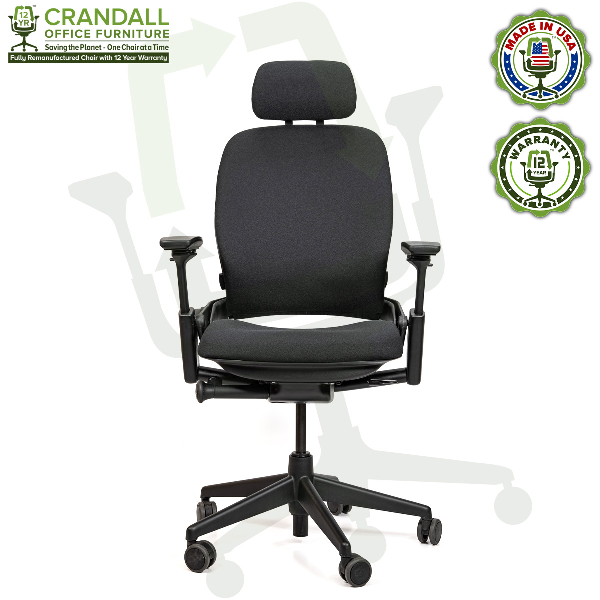 Crandall Office Furniture Remanufactured Steelcase V2 Leap Chair with Headrest 01