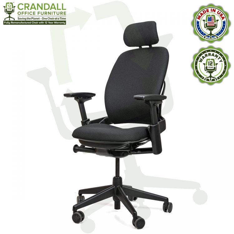 Crandall Office Furniture Remanufactured Steelcase V2 Leap Chair with Headrest 02