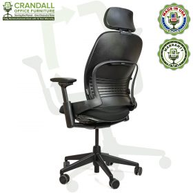 Crandall Office Furniture Remanufactured Steelcase V2 Leap Chair with Headrest 04