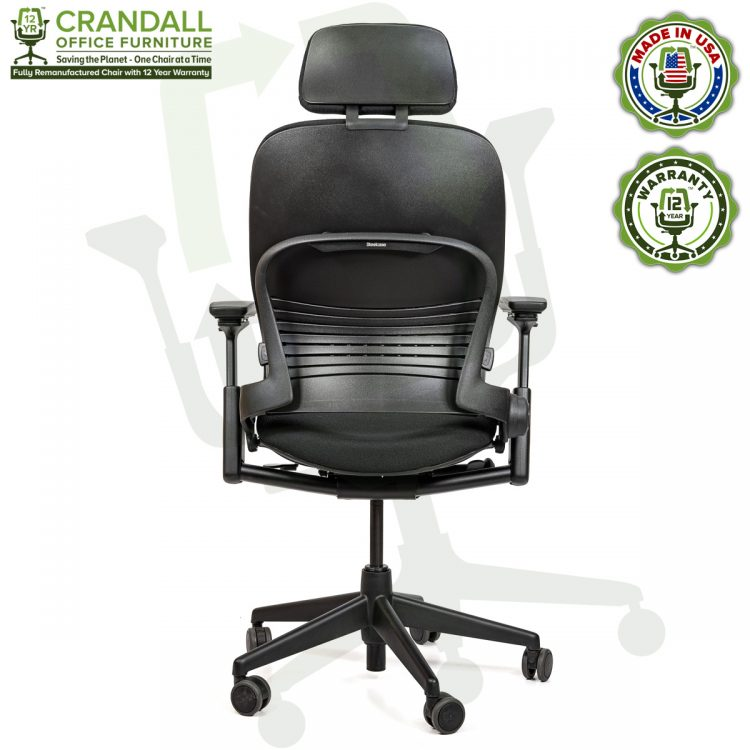 Crandall Office Furniture Remanufactured Steelcase V2 Leap Chair with Headrest 05