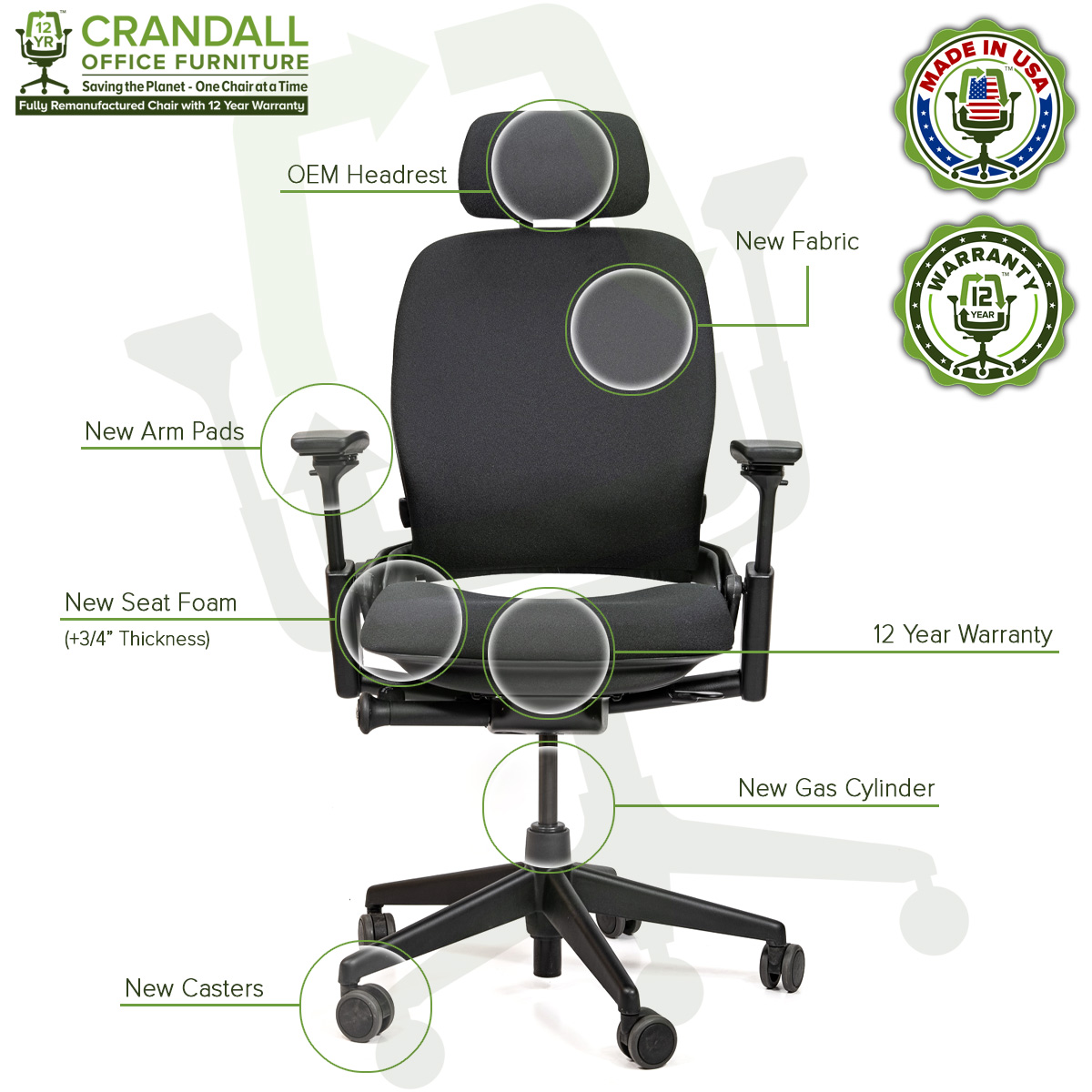 Crandall Office Furniture Remanufactured Steelcase V2 Leap Chair with Headrest 06