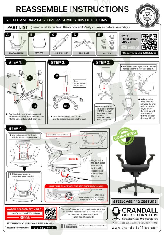 Crandall Office Furniture Remanufactured Steelcase Gesture Assembly Instructions
