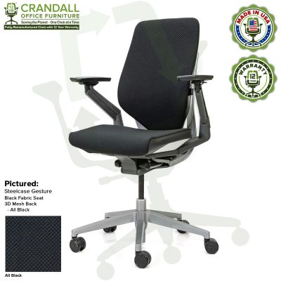 Crandall Office Furniture Remanufactured Steelcase Gesture Chair - 3D Mesh All Black Fabric