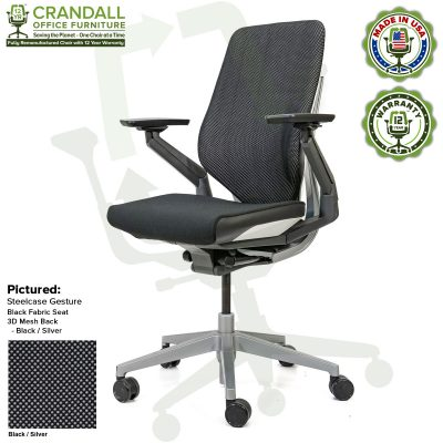 Crandall Office Furniture Remanufactured Steelcase Gesture Chair - 3D Mesh Black/Silver Fabric