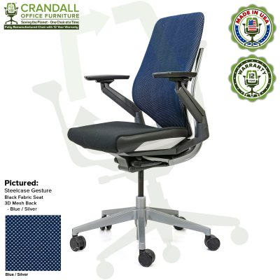 Crandall Office Furniture Remanufactured Steelcase Gesture Chair - 3D Mesh Blue/Silver Fabric