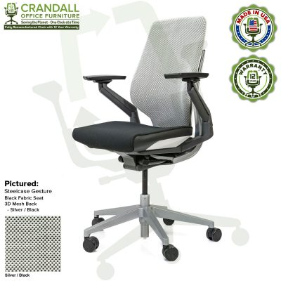 Crandall Office Furniture Remanufactured Steelcase Gesture Chair - Silver/Black 3D Mesh Fabric